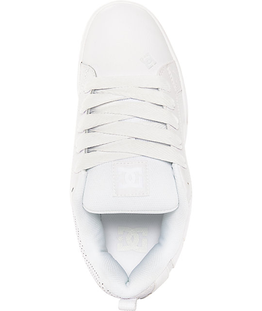 DC Court Graffik White, White & Gum Skate Shoes