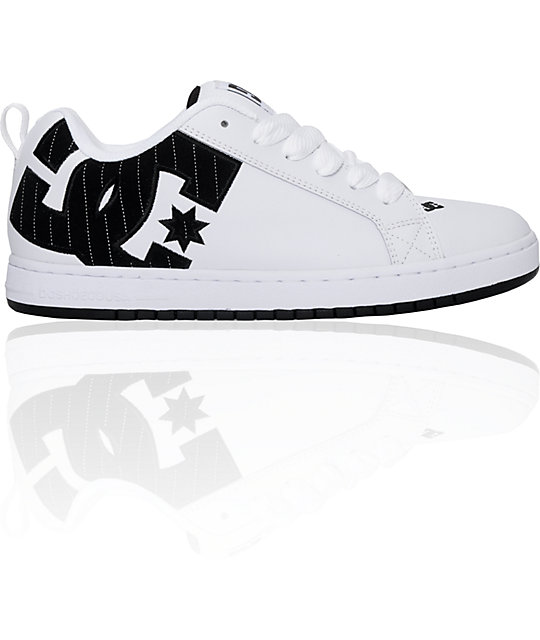 DC Court Graffik White & Black Pinstripe Shoes