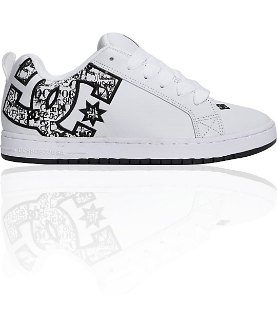 DC Court Graffik White & Black Print Shoes