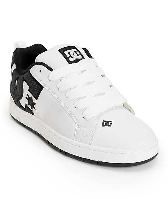 DC Court Graffik White & Black Stripe Skate Shoes