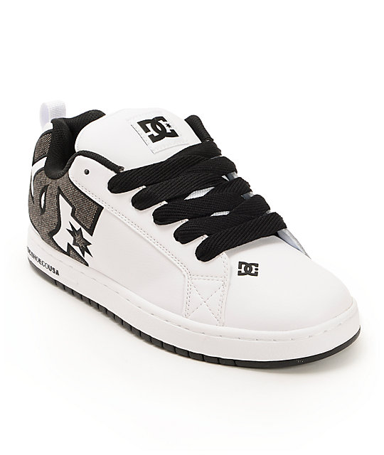 dc court graffik white shadow skate shoes