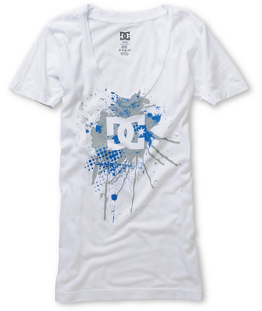 DC Court White V-Neck T-Shirt