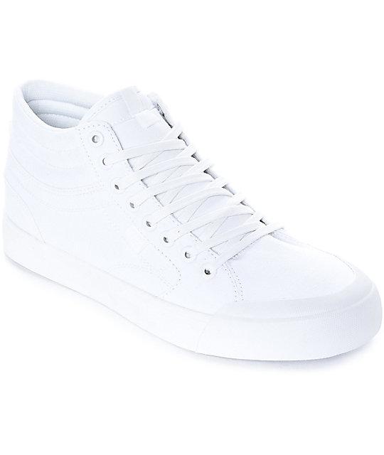 DC Evan Smith HI All White Skate Shoes