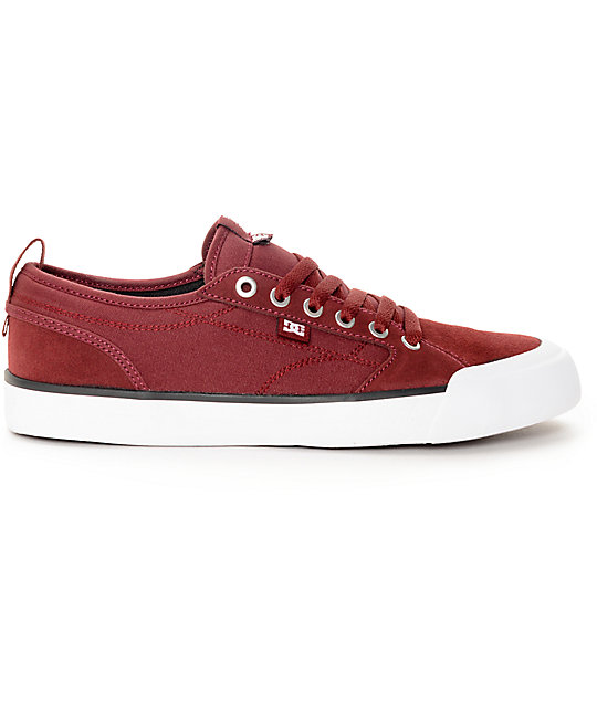 DC Evan Smith S Burgundy & White Skate Shoes