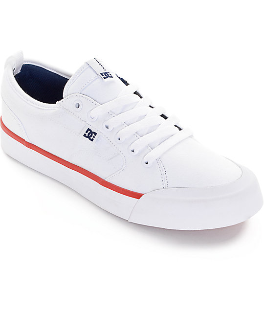 DC Evan Smith TX White, Navy, & Red Skate Shoes