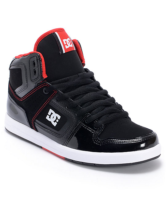 DC Factory Lite Hi Black & Red Leather Skate Shoes