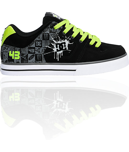DC Ken Block Pure Black & Soft Lime Print Shoes