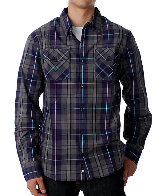 DC Natomas Charcoal Long Sleeved Woven Shirt