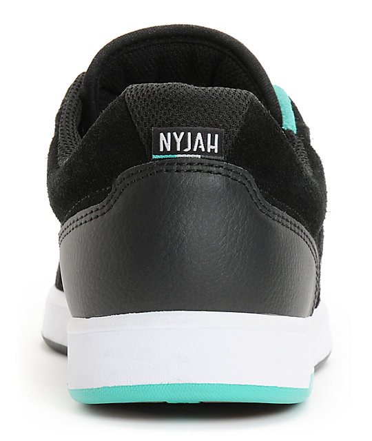 DC Nyjah S Black & Mint Skate Shoes
