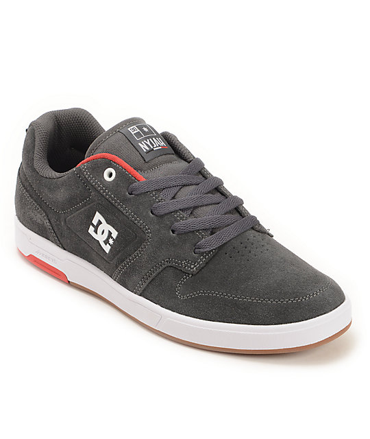 DC Nyjah S Charcoal, White, & Red Skate Shoes