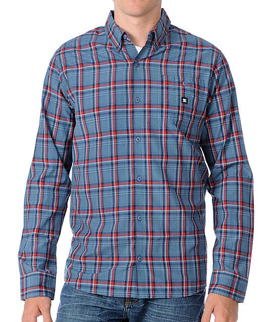DC Pounder Blue Plaid Long Sleeve Woven Shirt