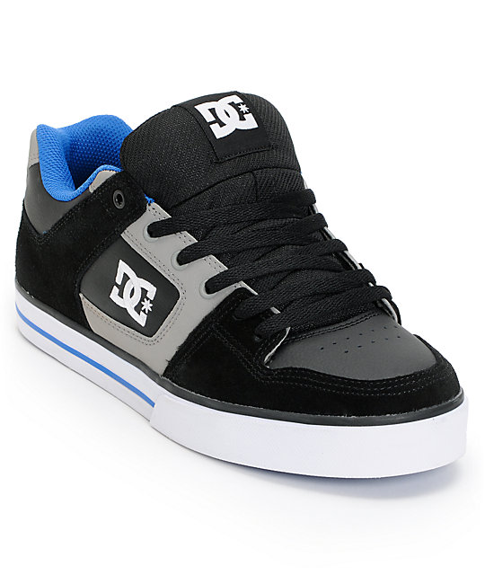 DC Pure Black, Grey & Blue Skate Shoes
