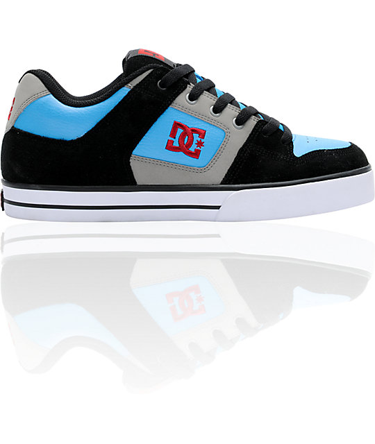 DC Pure Black & Turquoise Skate Shoes
