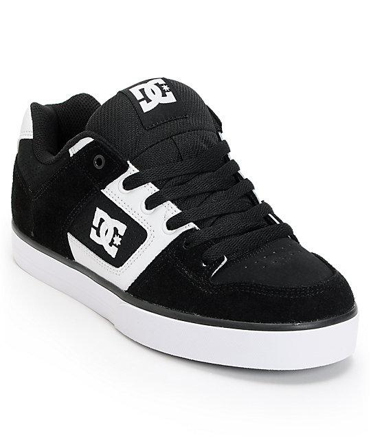 DC Pure Black & White Skate Shoes