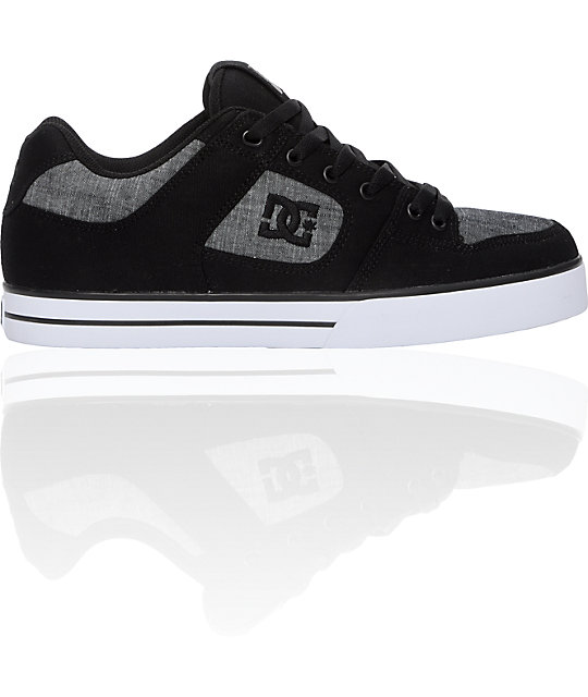 DC Pure Black Canvas & Denim Shoes
