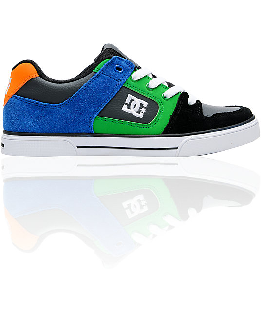DC Pure Boys Black & Dark Shadow Skate Shoes