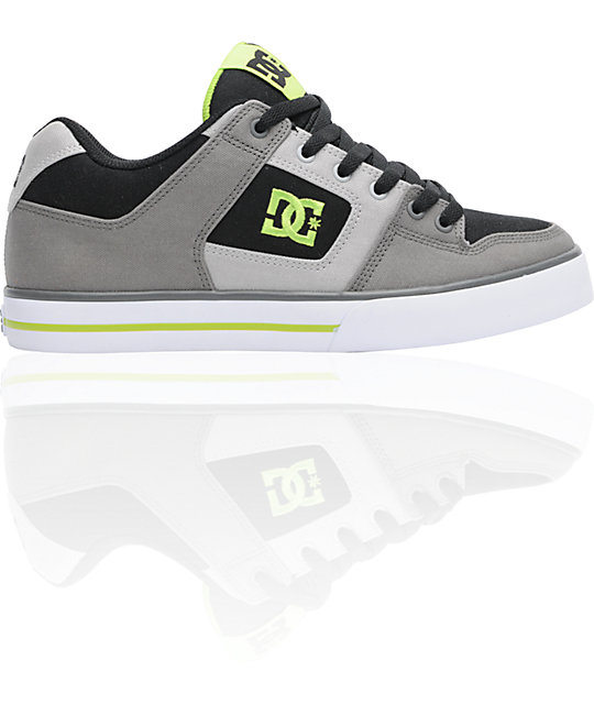 DC Pure TX Black, Battleship & Soft Lime Skate Shoes