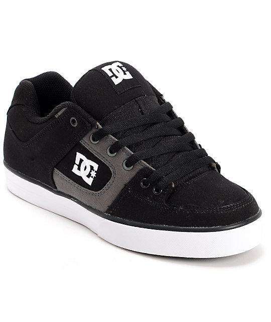 DC Pure TX Black & Dark Shadow Canvas Skate Shoes