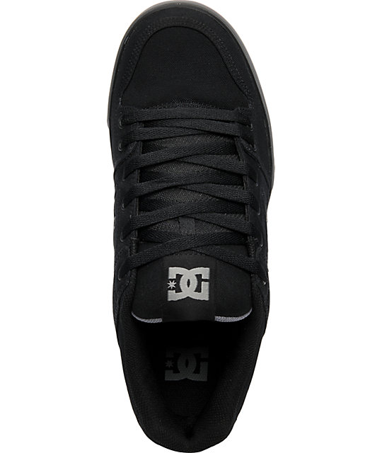 DC Pure TX Black & Grey Canvas Shoes