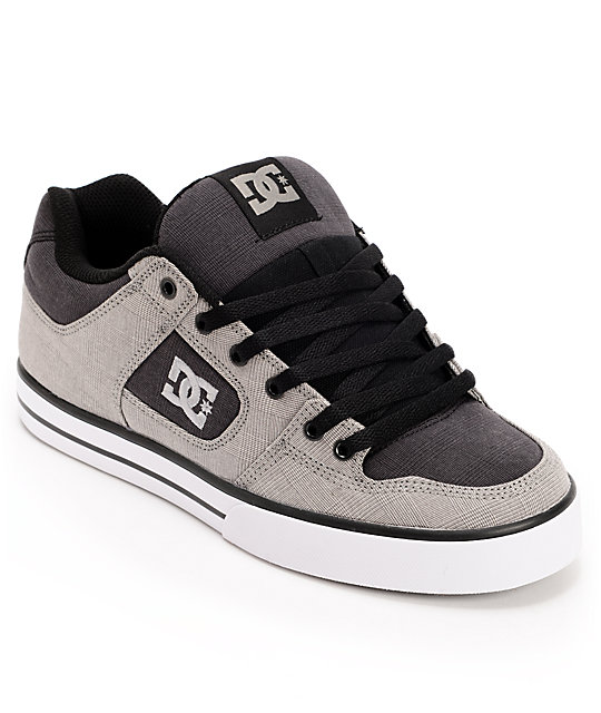 DC Pure TX Grey Plaid Skate Shoes