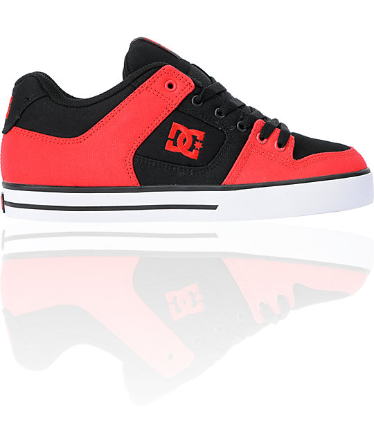 DC Pure TX Red & Black Canvas Skate Shoes