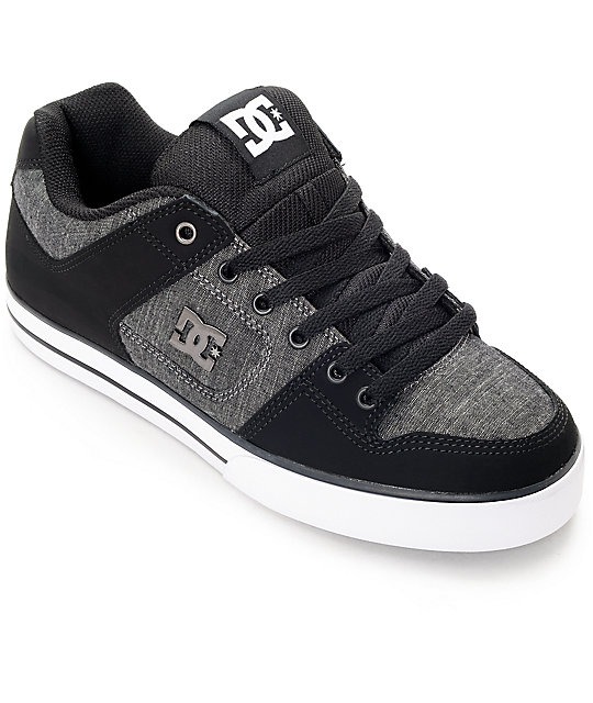 DC Pure TX SE Black, Grey & White Skate Shoes