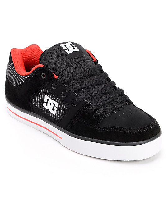 DC Pure XE Black & Athletic Red Suede Skate Shoes