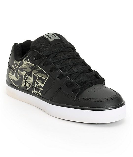 DC Pure XE Black & Camo Skate Shoes