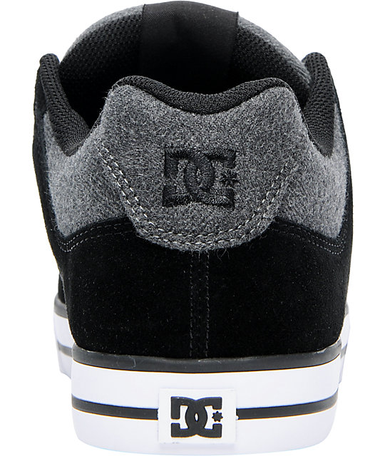 DC Pure XE Black & Grey Flannel Skate Shoes