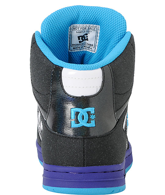 DC Rebound Hi LE Black & Purple Zebra Skate Shoes