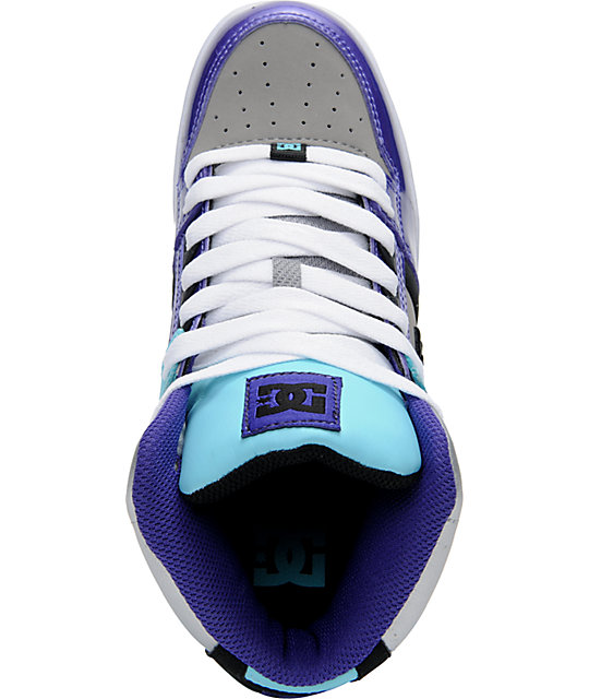 DC Rebound Hi Teal, Purple, & Silver Shoes