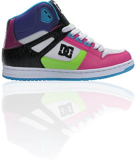 DC Rebound Hi White, Crazy Pink & Turquoise Shoes