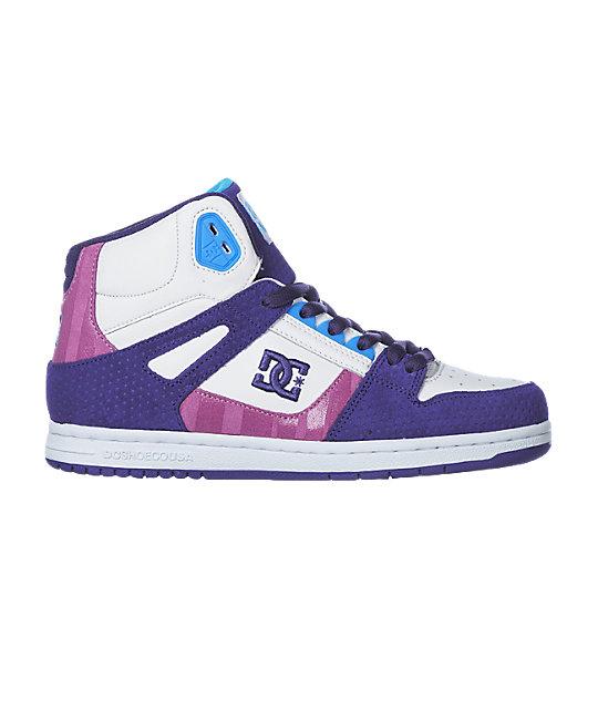 DC Rebound Hi White, Purple & Turquoise Shoes