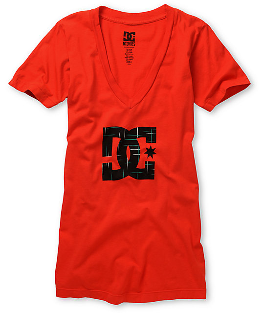 DC Shoes Red Indulge V-Neck T-Shirt