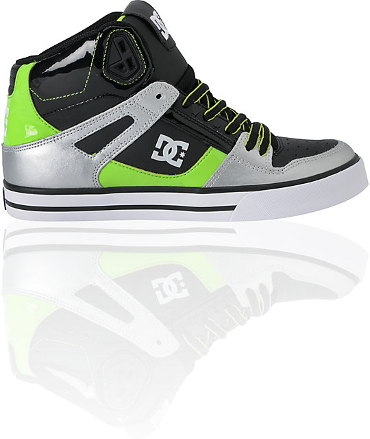 DC Shoes Spartan Hi WC Black, Silver & Lime Green Skate Shoes