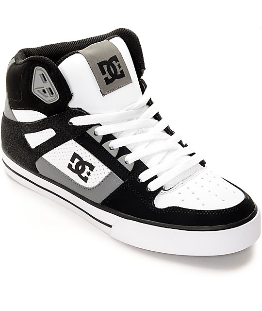 DC Spartan Hi Black, Grey & White Skate Shoes