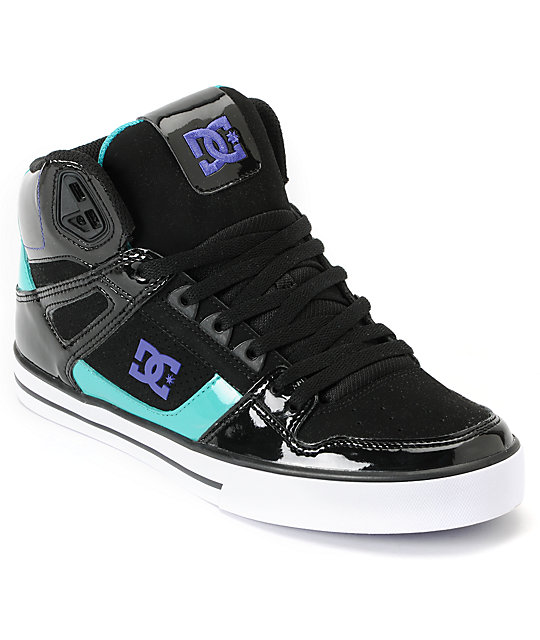 DC Spartan Hi Black, Teal & Purple Leather Skate Shoes