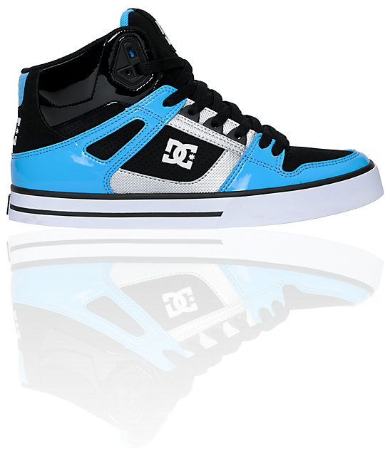 DC Spartan Hi Black & Hawaiian Blue Patent Leather Skate Shoes