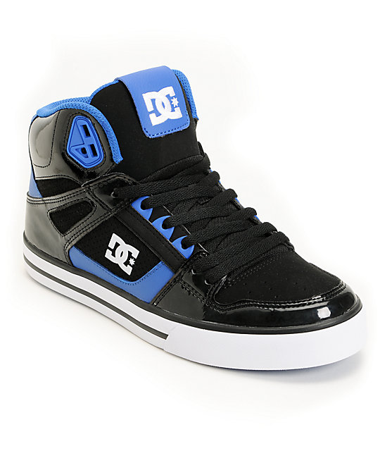 DC Spartan Hi Black Patent & Blue Leather Skate Shoes