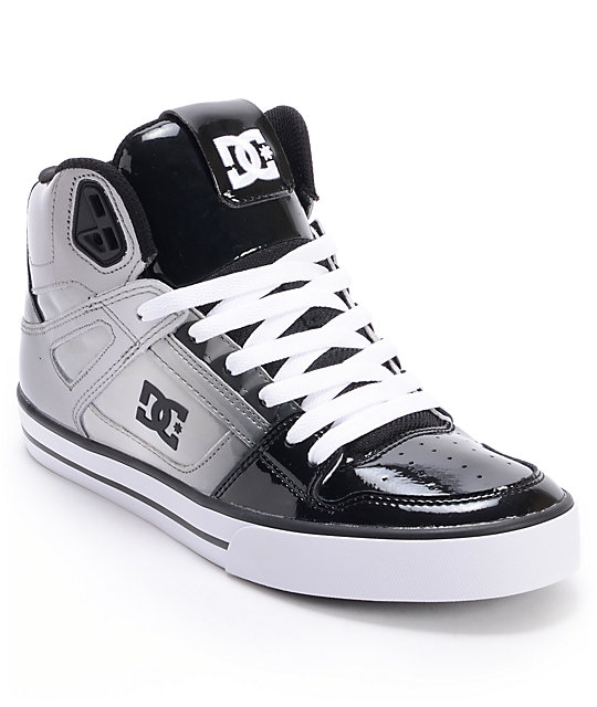 DC Spartan Hi Black Patent Leather & Grey Skate Shoes