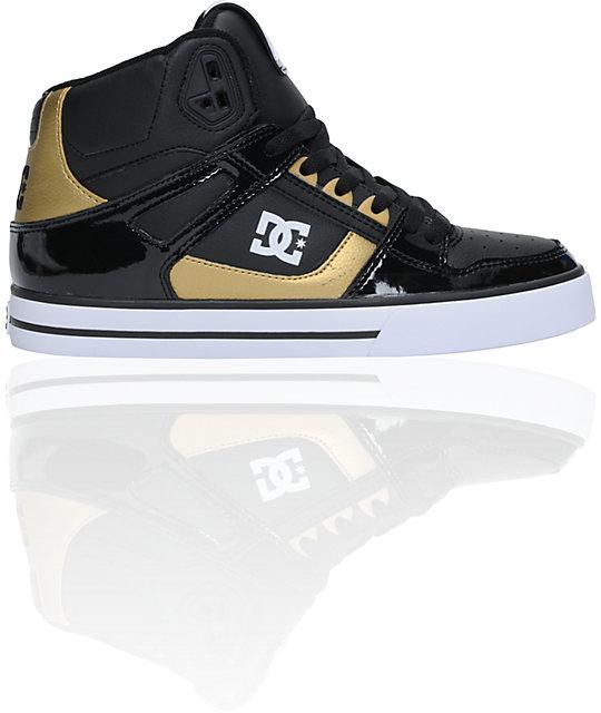 DC Spartan Hi Metallic Gold & Black Skate Shoes