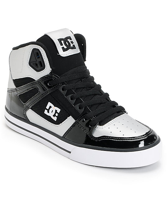 DC Spartan Hi Metallic Silver & Black Skate Shoes
