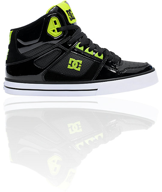 DC Spartan Hi Patent Leather & Soft Lime Shoe