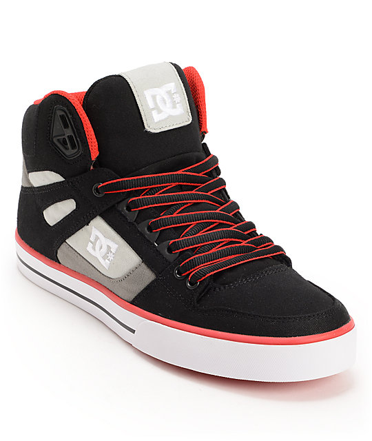DC Spartan Hi TX Black, Battleship & Red Canvas Skate Shoes
