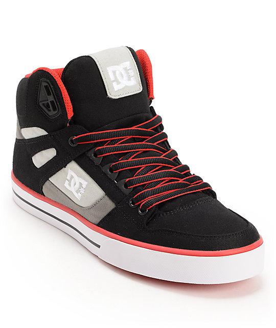 DC Spartan Hi TX Black, Battleship & Red Canvas Skate Shoes