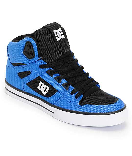 DC Spartan Hi WC TX Royal & Black Canvas Skate Shoes