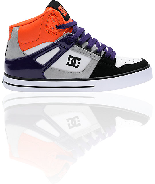 DC Spartan Hi WC White, Black & Orange Skate Shoes