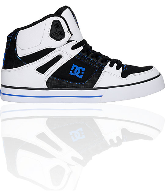 DC Spartan Hi White, Black & Royal Shoes