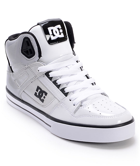 DC Spartan Hi White & Black Patent Leather Skate Shoes