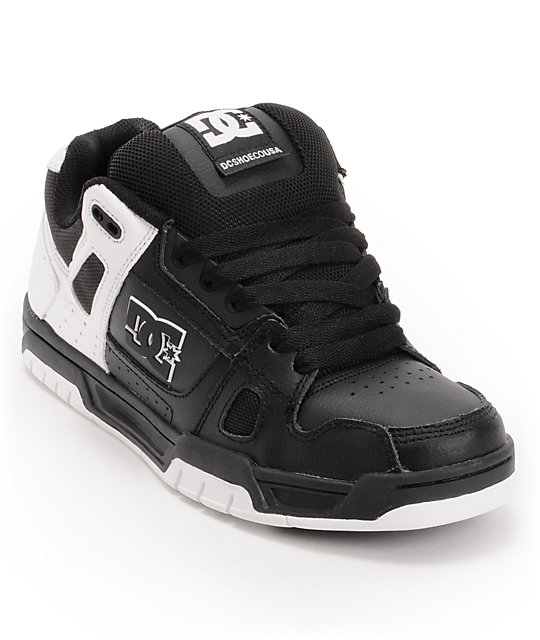 DC Stag Black & White Leather Skate Shoes